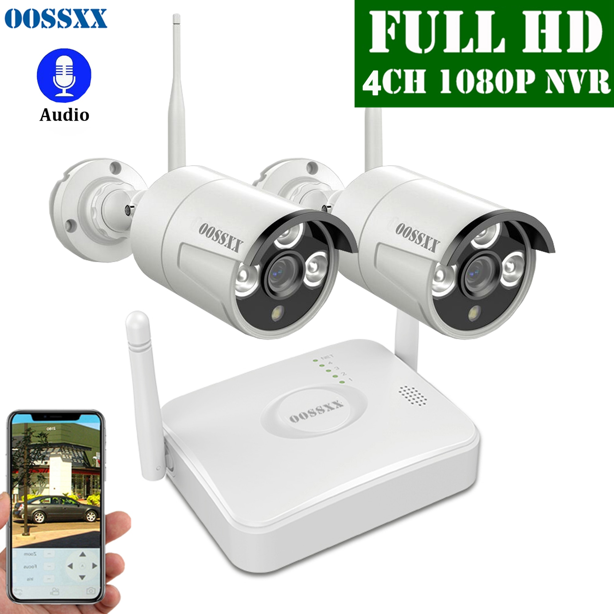 Sistema de cámara CCTV OOSSXX 4CH Kit NVR inalámbrico, 2 uds., 1080P, 2,0 MP, cámara de seguridad de Audio IP para exteriores, Wifi, sistema de videovigilancia
