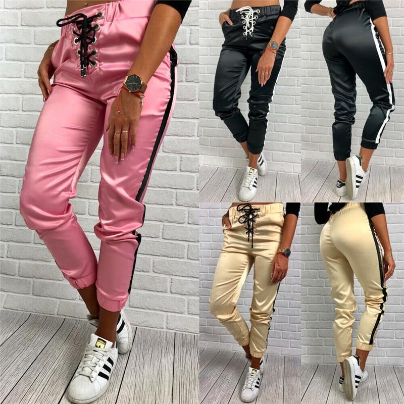 Pantalones de deporte Retro para mujer, pantalones a rayas laterales, pantalones brillantes, pantalones de chándal con cordón, pantalones brillantes casuales para mujer