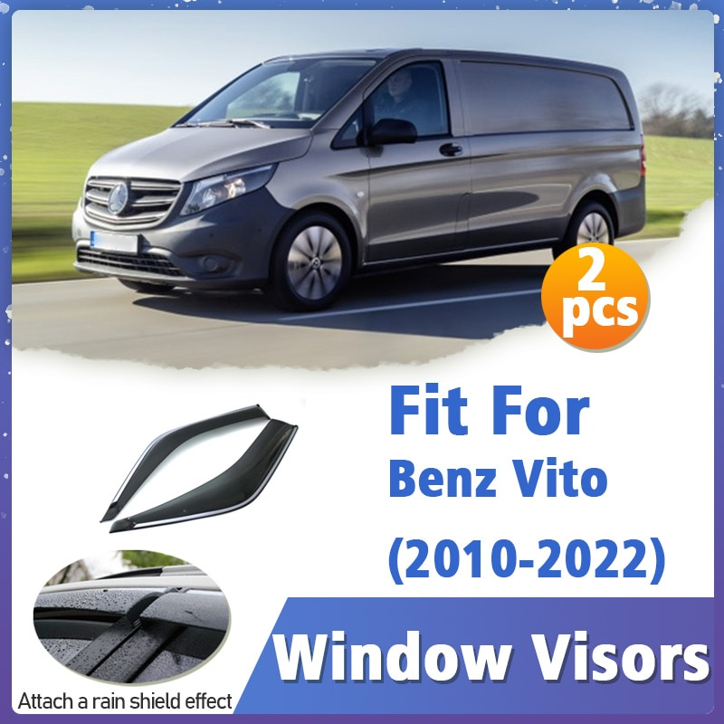 Window Visors Guard for Benz Vito 2010-2022 Vent Cover Trim Awnings Shelters Protection Deflector Rain Rhield 2pcs 2011 2012
