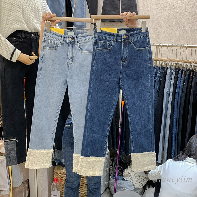 بنطلون جينز نسائي دافئ ، ملابس شتوية ، خصر عالي ، مخمل سميك ، صوف الضأن ، أزرق ، قص مستقيم ، 2020