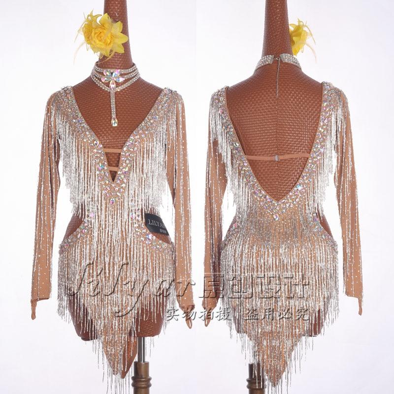 Новое латинское платье для танцев платье юбка платье для соревнований украшение костюмы для латинских танцев юбка с бисером бахромой Глубо...
