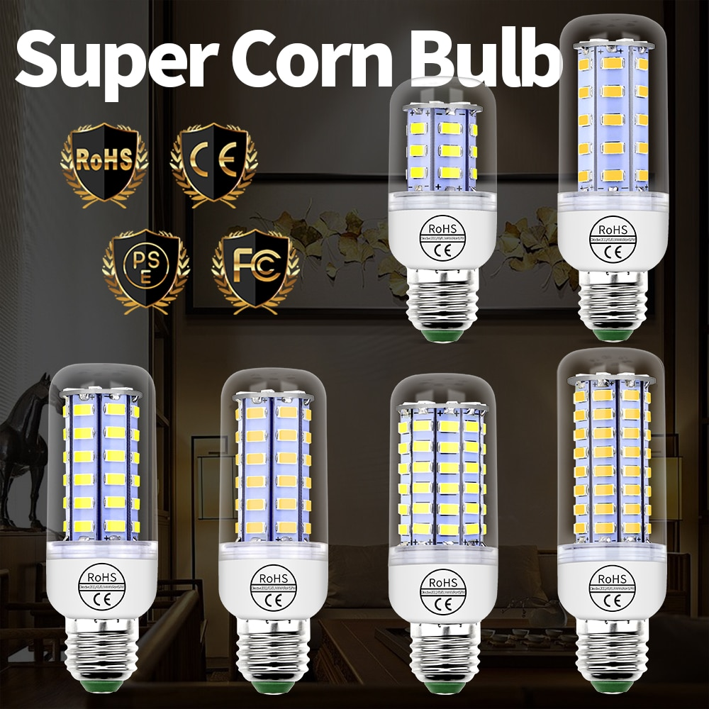tsleen high quality 4014 smd no flicker led corn bulb e27 e14 220v led lamp light b22 g9 gu10 36 56 72 96 138leds smart power ic E27 LED Bulb 220V E14 Corn Lamp Candle GU10 LED Lamp G9 Lampada B22 24 36 48 56 69 72 LEDs Light For Home 5730 Chandelier Light