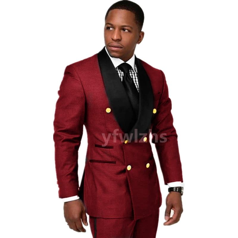 New Arrival Double-Breasted Groomsmen Shawl Lapel Groom Tuxedos Men Suits Wedding/Prom Best Blazer ( Jacket+Pants+Tie) D10