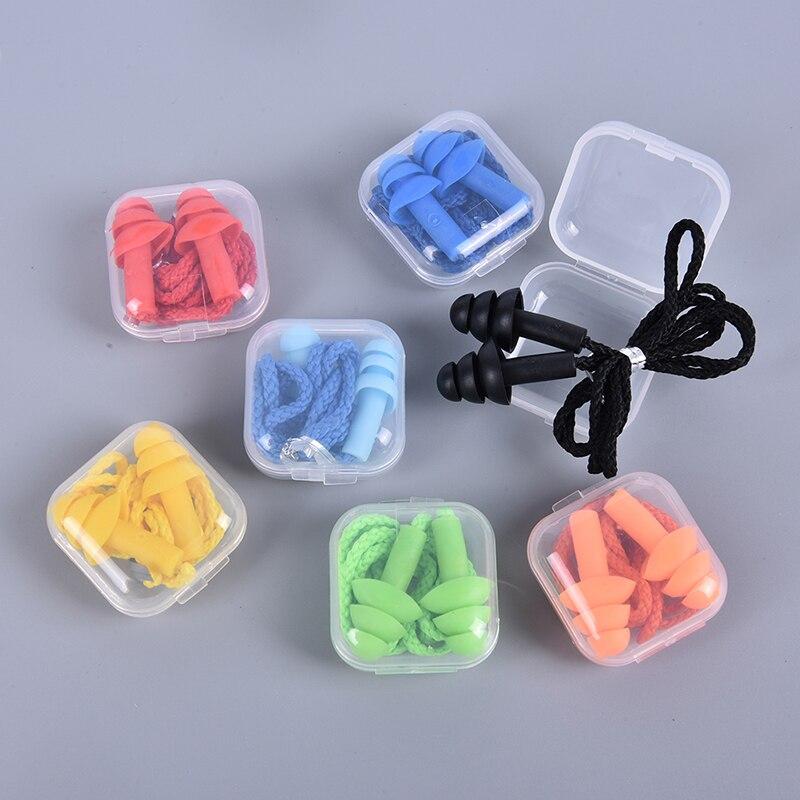 Комплект из 2 предметов, мягкие носки с противоскользящим покрытием, Шум затычка для ушей Водонепроницаемый плавательный силиконовые ушные затычки для плавания, способный преодолевать Броды для взрослых детей пловцов для дайвинга с веревкой, комплект из 2 предметов-0