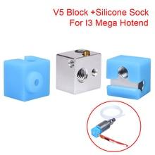E3D V5 bloc chauffant V5 chaussette en Silicone pour Original anycubique I3 Mega/Chiron V5 Hotend extrudeuse 3D imprimante pièces V5 bloc en aluminium