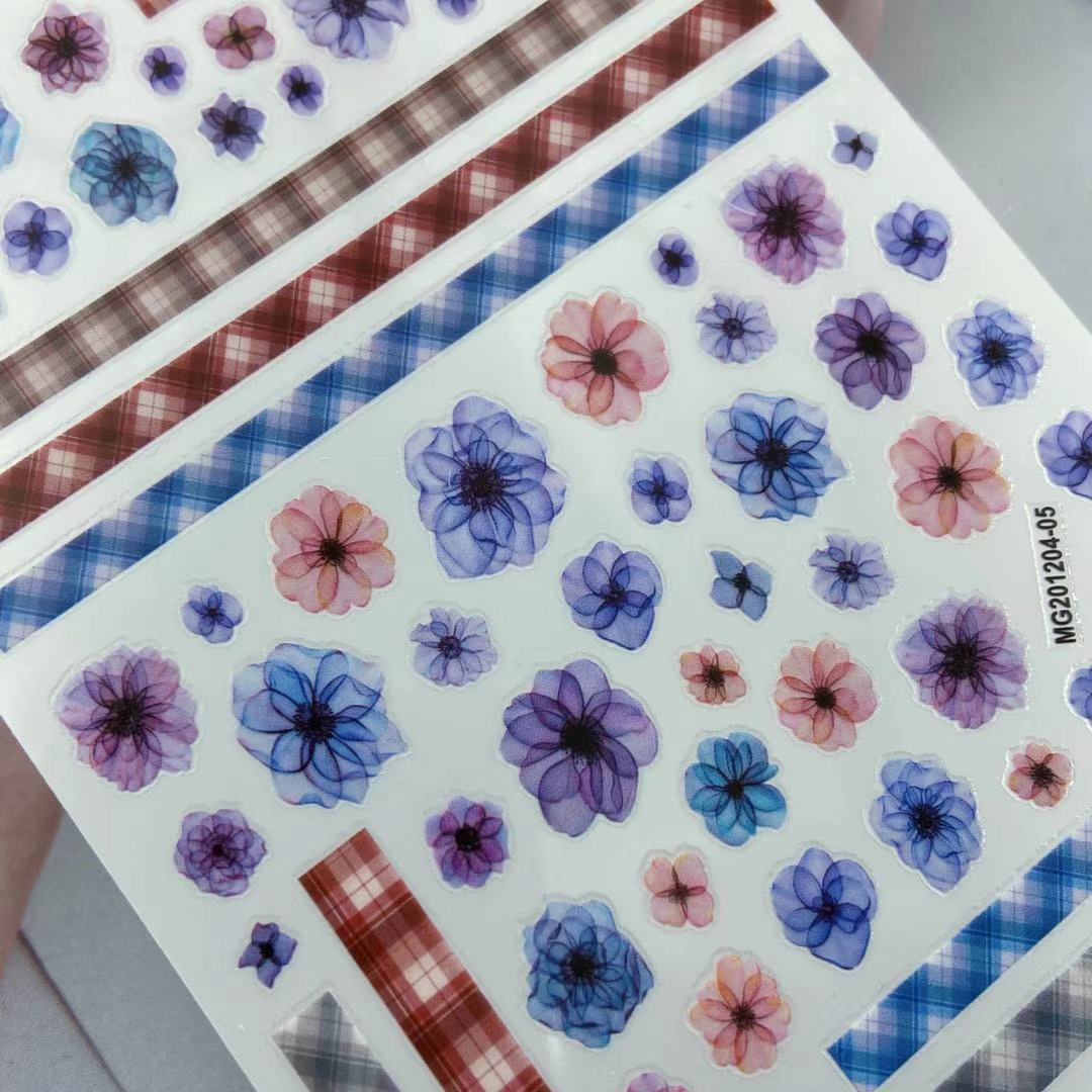 3D Nail Stickers New blue blooming flower Design DIY Skills Nail Art Decoration Packaging Self-adhesive Transfer Decal Slider