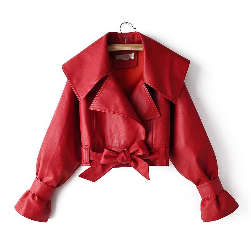 Весенне-осенняя куртка из искусственной кожи, женская короткая куртка с отворотом, с расклешенным рукавом, бежевая, красная, черная мотоцик...