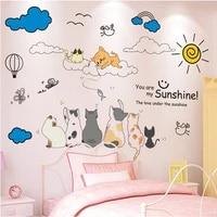 shijuekongjian cartoon cats animals wall sticker diy clouds sun mural decals for kids bedroom living room house decoration