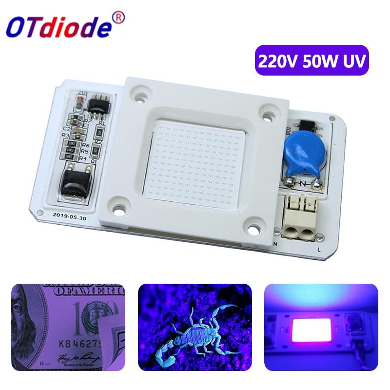 UV LED 50W 395nm Lamp Chip Driverless AC110V 220V DOB Ultraviolet Cure Metal Detector Quartz Black Light Germicidal Disinfectio