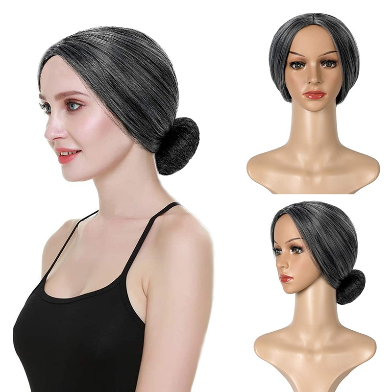 XBwig Old Lady Short Gray Wigs Natural Part Side Hair Ombre Synthetic Wigs Heat Resistant For Kids Women Fake Cosplay Hair Wigs