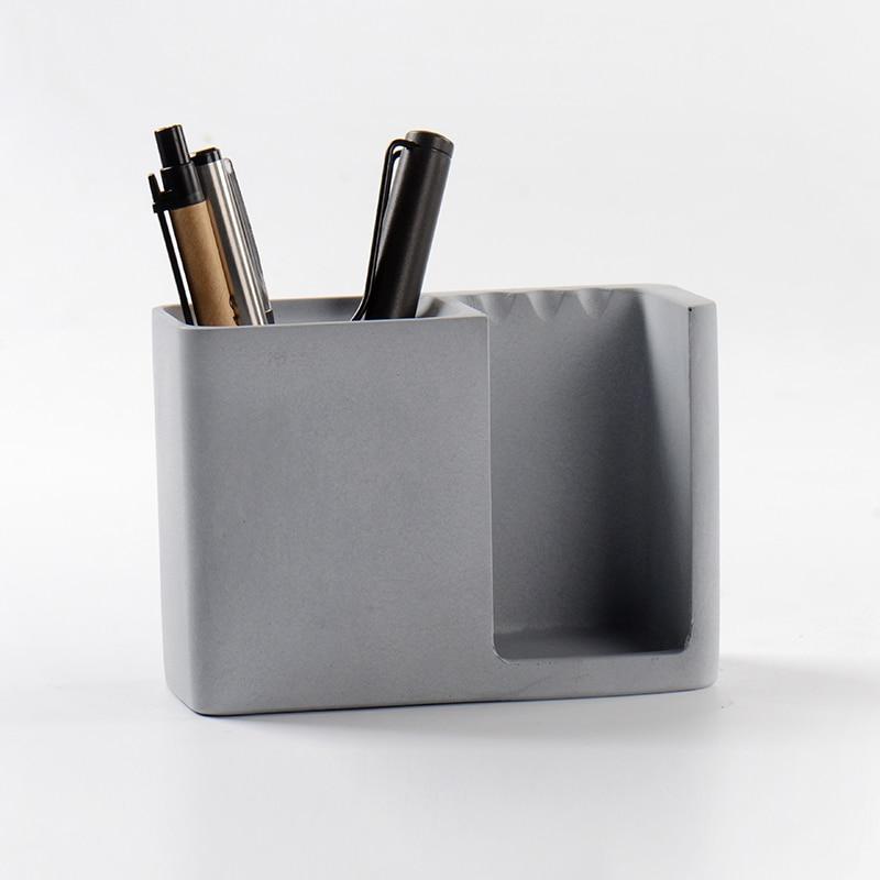 Nicole Silicone Concrete Molds Cement Pen Holder Mould Handmade Desk Decorative Tool