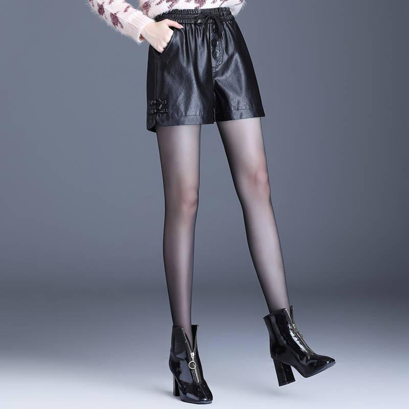 Autumn Winter Leather Shorts Women's Black High Waist Large Size Wide Leg PU Leather Shorts Women Leather Boots Elastic Waist