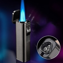 Metal Windproof Cigar Butane Lighter Gas Lighters Cigar Cutter Three Jet Torch Spray Gun Blue Flame