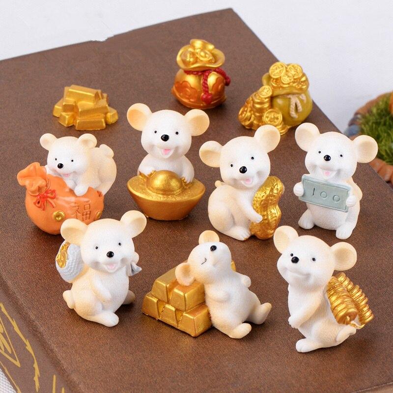Figuras miniatura de ratones, decoración de escritorio de ratón, adornos para animales, accesorios de decoración para el hogar, novedad, Venta caliente