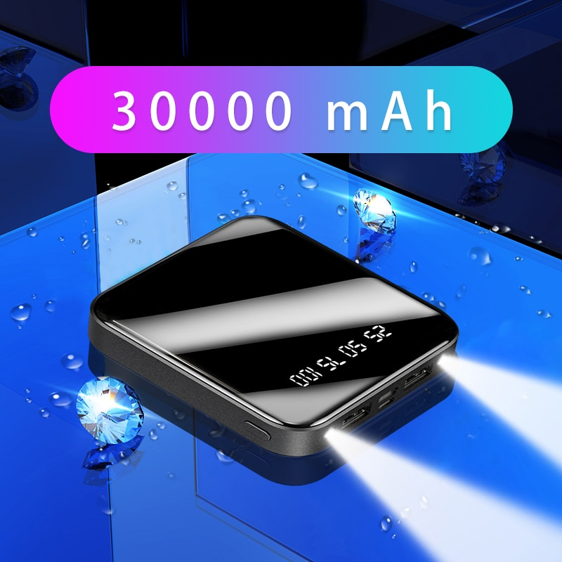Mini banco de energía 30000mAh cargador rápido portátil Powerbank Pantalla Completa Digital Display Power Bank batería externa paquete Poverbank