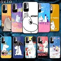 qxtq cartoon moomines cute tempered glass phone case bag cover for xiaomi redmi note 7 8 9 10 a c t s pro k 30 40 prime tpu