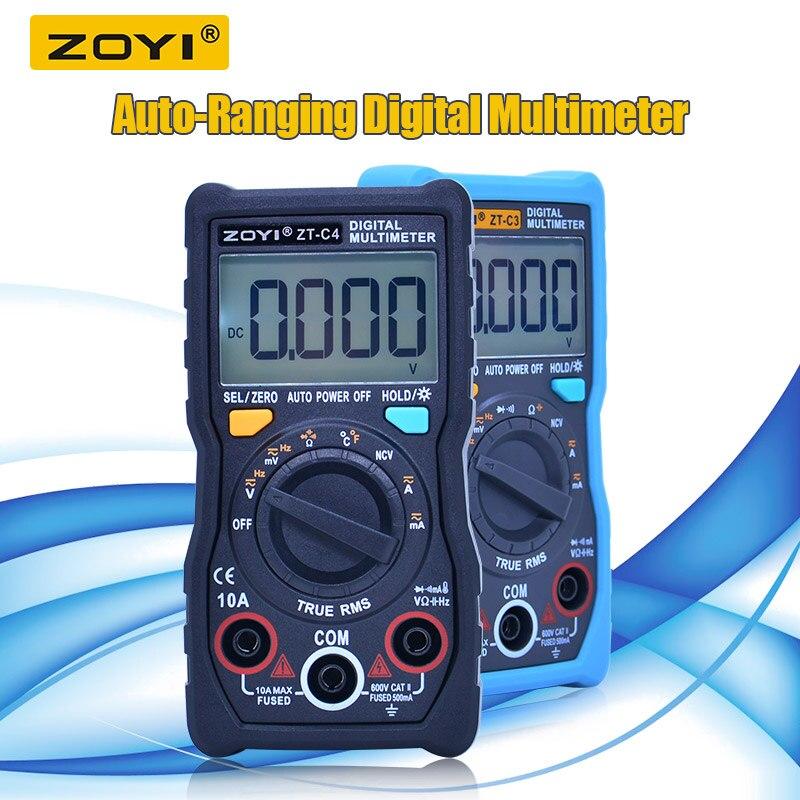 Multímetro Digital de auto alcance 4000 recuentos trms CA/DC amperímetro voltímetro Ohm multímetro retroiluminación LCD linterna ZT-C3/C4