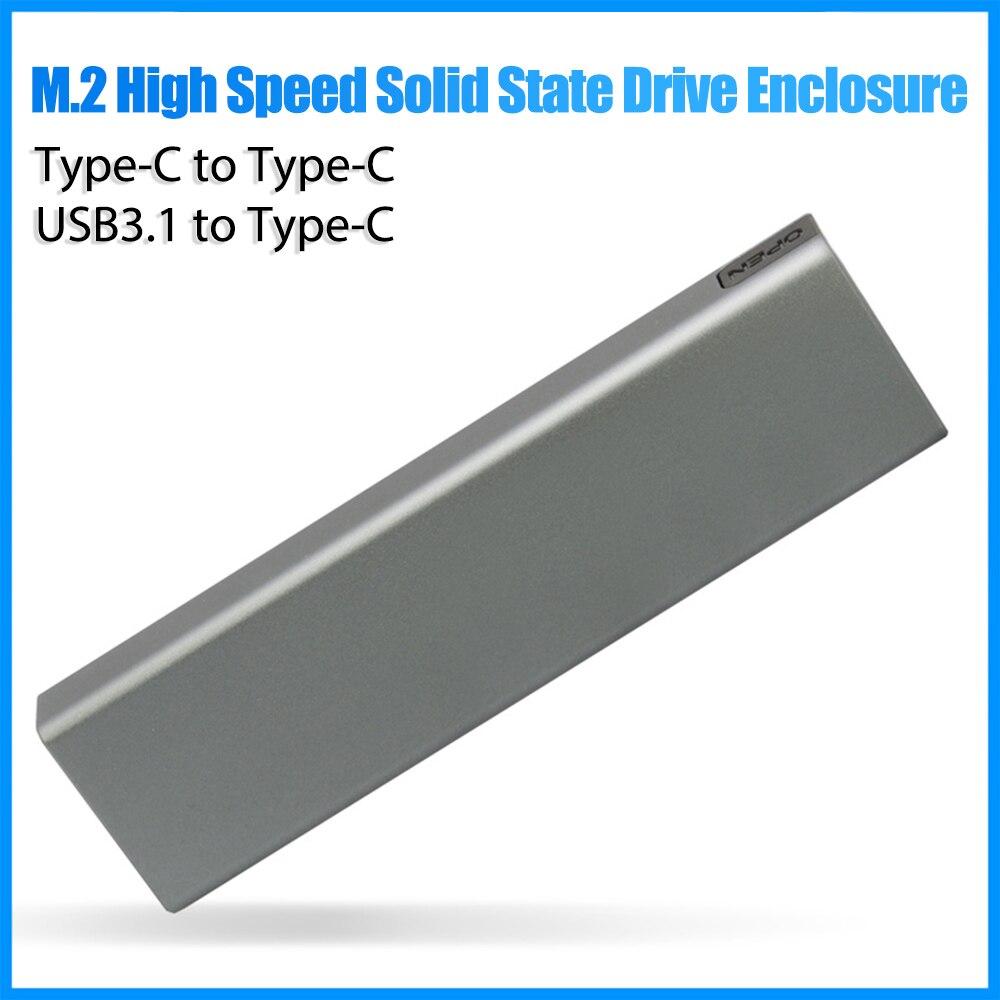 M.2 SSD الضميمة المحمولة SSD USB3.1 Type-C الحالة الصلبة محرك الضميمة يدعم NVMe / SATA اثنين من البروتوكولات