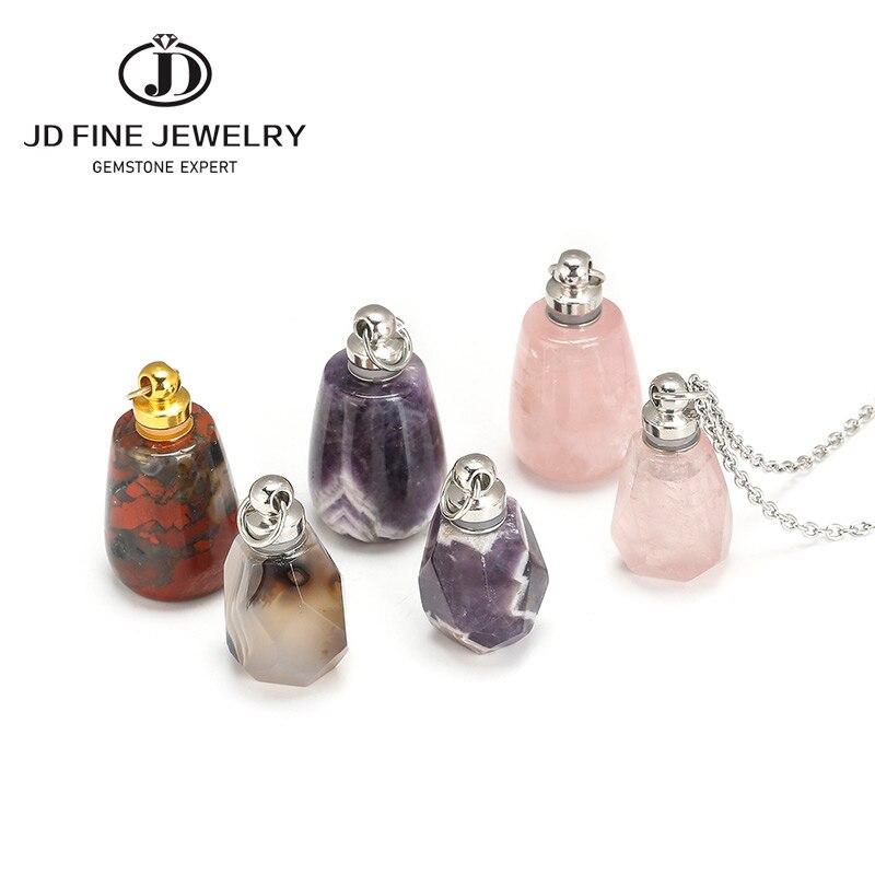 JD натуральные камни камень кварц флакон духов Подвески граненый Радуга Jasper розовый кварц аметист Шарм ожерелье