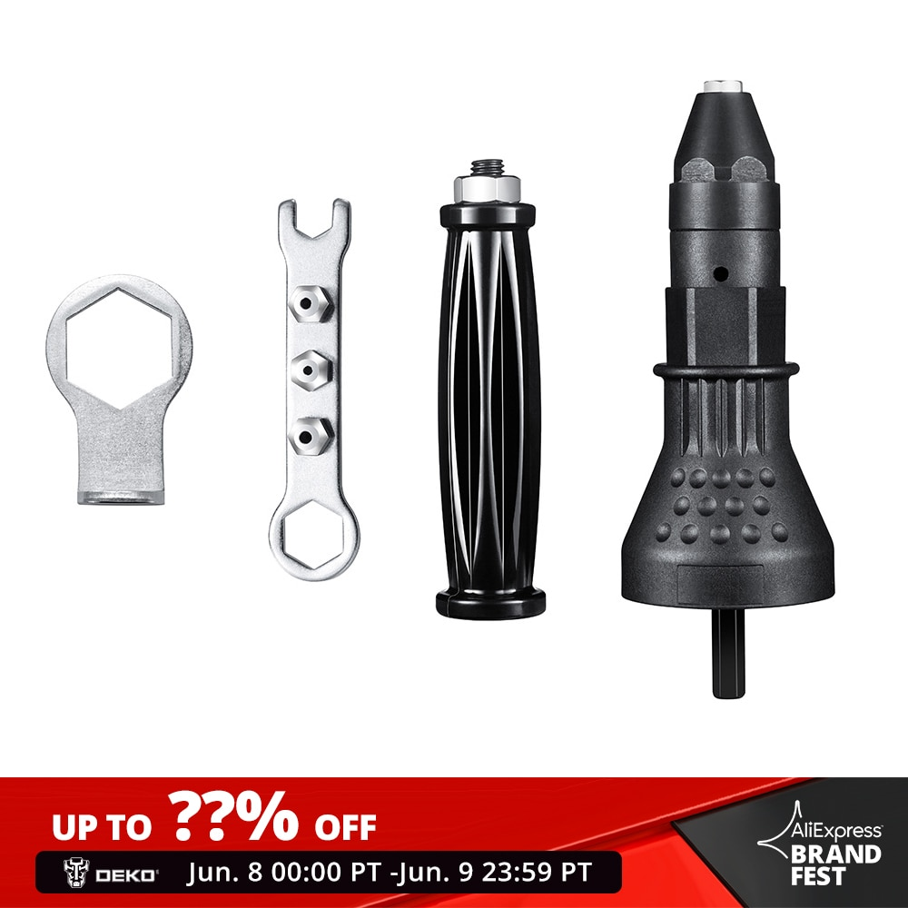 DEKO, pistola para tuercas de remaches eléctrica, herramienta remachadora, adaptador de taladro de remachado inalámbrico, herramienta de inserción, adaptador de taladro de remachado