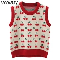 3d cherry embroidery knitted vest women sweater vest for students girls spring autumn waistcoat cute o neck sleeveless pullover