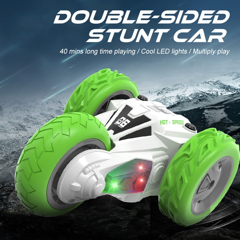 2021 NEW Three-Wheeled Remote Control Stunt Car 2.4G Remote Control Double Side Stunt 360-Degree Rot