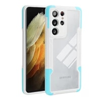 luxury transparent shockproof armor case for samsung galaxy s21 ultra s21 plus soft tpu bumper hard pc protective back cover