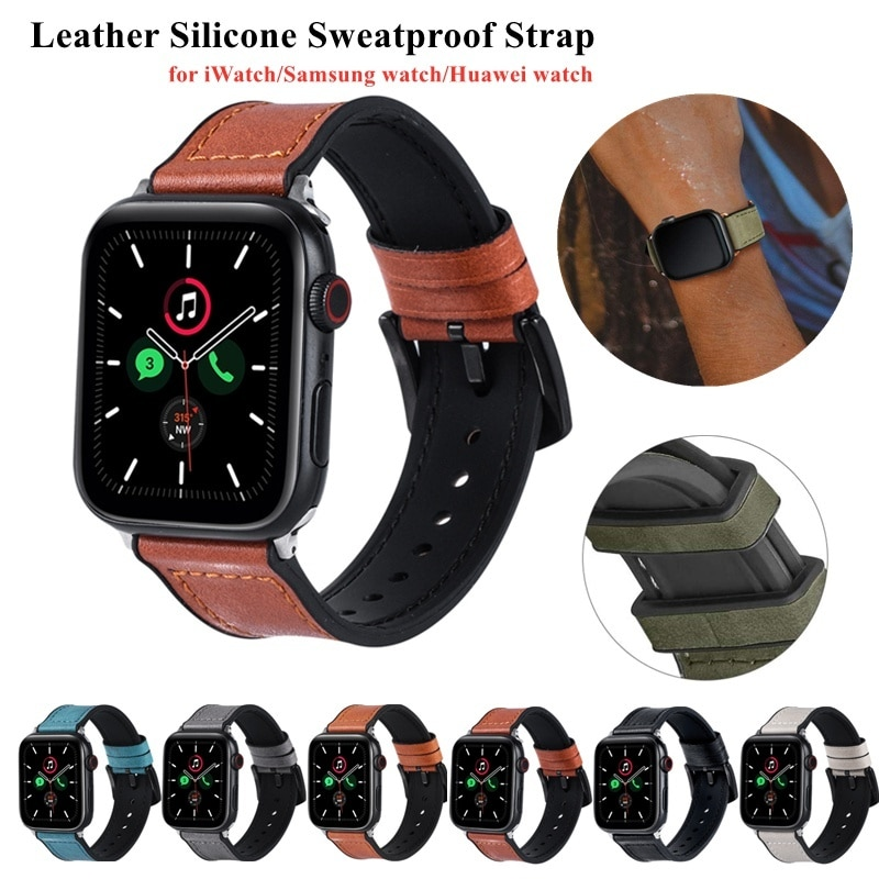 strap for apple watch 6 band 44mm 40mm 42mm 38mm leather replacement strap for iwatch apple se series 6 5 4 3 2 1 bracelet Leather Loop for Apple Watch 6/SE/5/4/3/2/1 38mm 40mm Sports Watchband Bracelet Strap for IWatch SE/6 Apple Watch Band 42mm 44mm