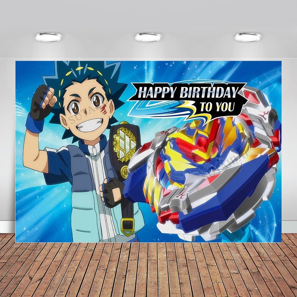 Beyblade Photo Background Boys Game Party Supplies Photography Backdrop Happy Birthday Party Cake Table Decoration Photo Studio