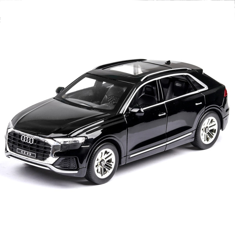 1:24 Alloy Pull Back Car Model Diecast Metal Toy Vehicles Q8 Sound Light Car Doors Open For Kids Birthday Christmas Gifts Toys недорого