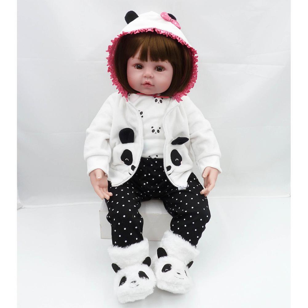 Muñeca Reborn 47cm muñecas bebé silicona suave Reborn regalos del Día de los niños juguetes cama tiempo Plamate