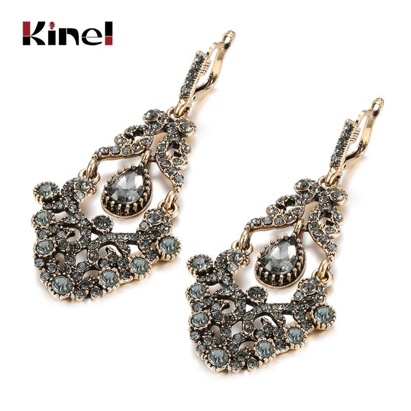Pendientes largos bohemios de cristal gris para novia de Kinel para mujer, pendientes antiguos de Color dorado para fiesta en la playa, joyería de moda Vintage