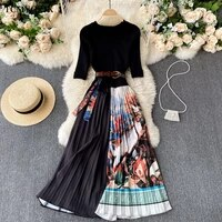 elegant knitted patchwork pleated dress 2021 summer fashion round neck short sleeved waist lace up contrast print midi dress