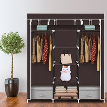 New 2019 69 inchPortable Clothes Closet Non-Woven Fabric Wardrobe Double Rod Storage Organizer Household Dark Brown