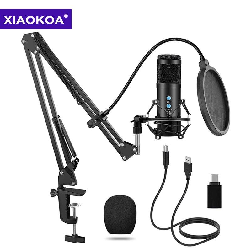 XIAOKOA-مجموعة ميكروفون مكثف احترافي ، USB ، للكمبيوتر ، الهاتف ، الكاريوكي ، Youtube ، الاستوديو ، التسجيل