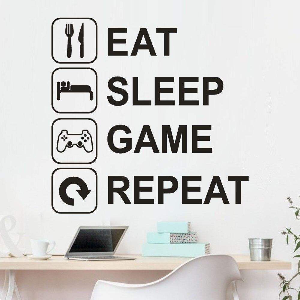 "Adhesivo de pared KAKUDER, letras removibles ""Eat Sleep Game Repeat"", vinilo para pared, sala de estar adhesivo para, 2020"