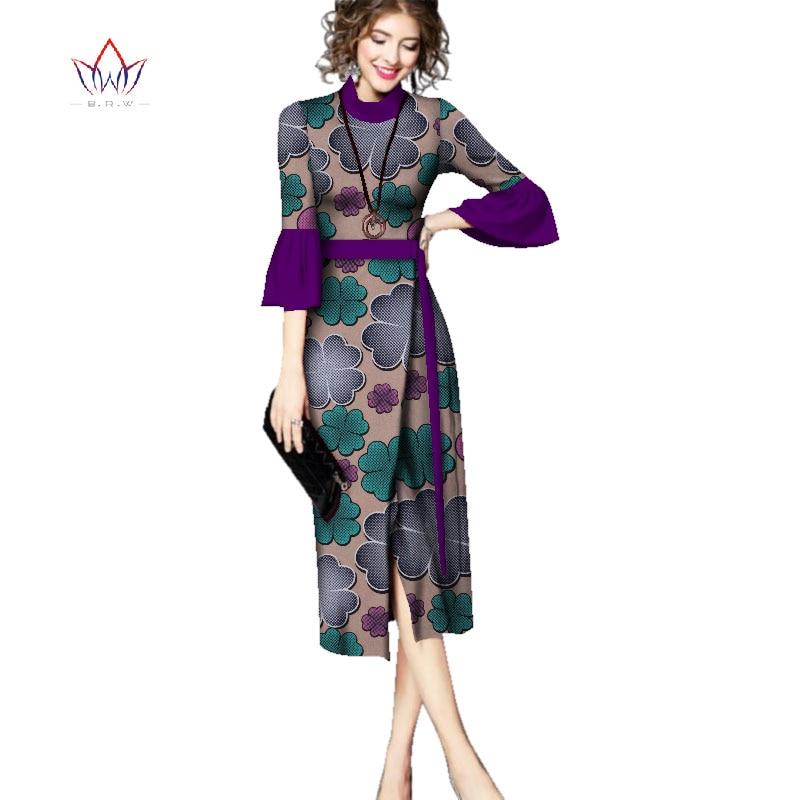 New African Dresses Women Summer O-neck Flare Sleeve Dashiki African Print Dress For Women Mid-calf Plus Size 6xl WY2462 недорого