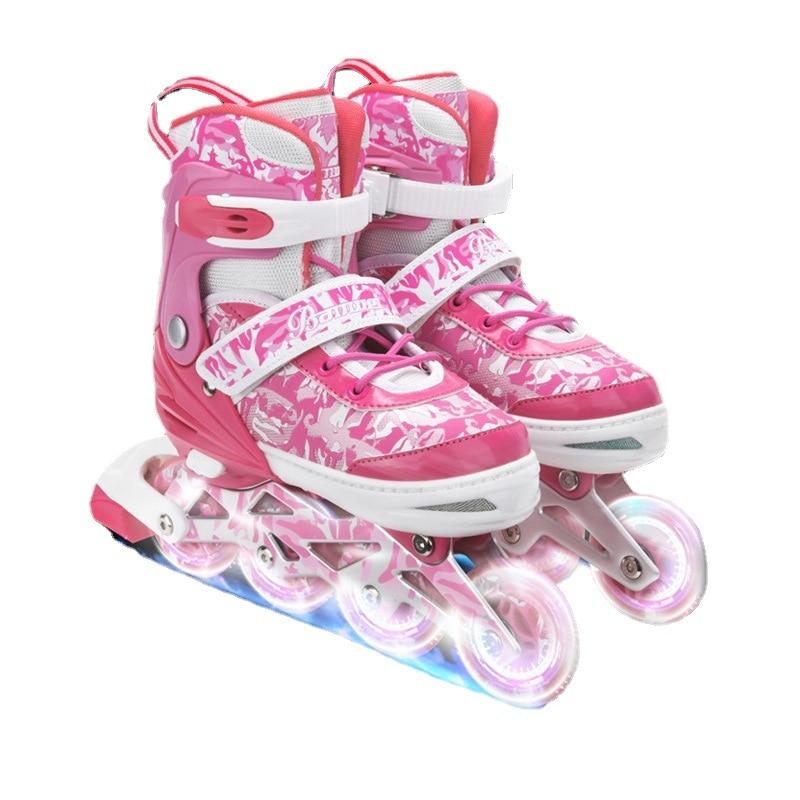 Children Inline Pink Roller Skates Inline Skating Shoes Adjustable Sneaker Flash Pu Wheel Patines Sport Shoes