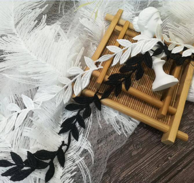 Cinta de encaje bordado, tela de encaje blanco y negro, 2cm, apliques...