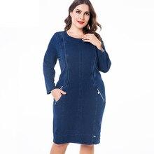 MK 2019 winter Frauen Plus Größe denim kleid mode Damen Vintage lange hülse herbst midi kleid
