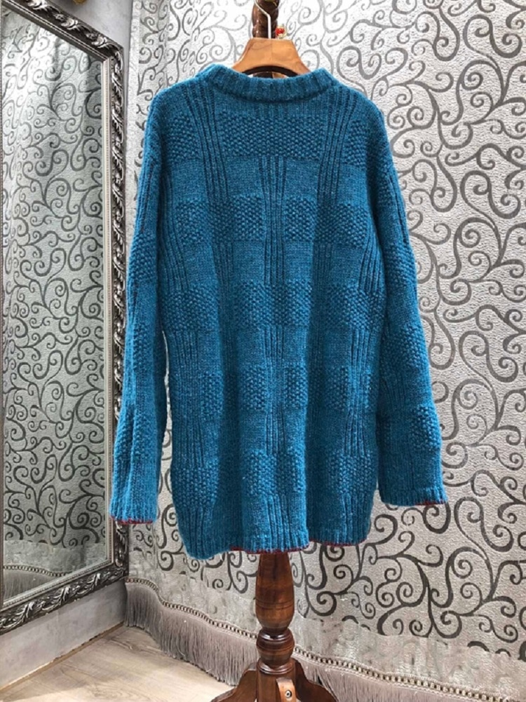 High Quality Sweaters & Pullovers 2020 Autumn Winter Clothing Women Abstract Patterns Knitting Long Sleeve Casual Blue Jumpers enlarge