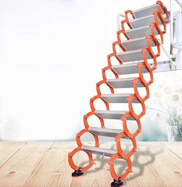 Household tool set outdoor wall-mounted telescopic staircase manual folding ladder portable telescopic staircase 2.2-3.4M enlarge