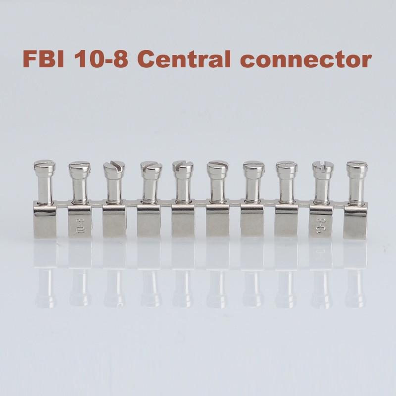 5Pcs FBI10-8 Central Short Circuit Connection Strip Din Rail Screw Terminal Block Wire Cable Connector UK-6N Morsettiera Parts