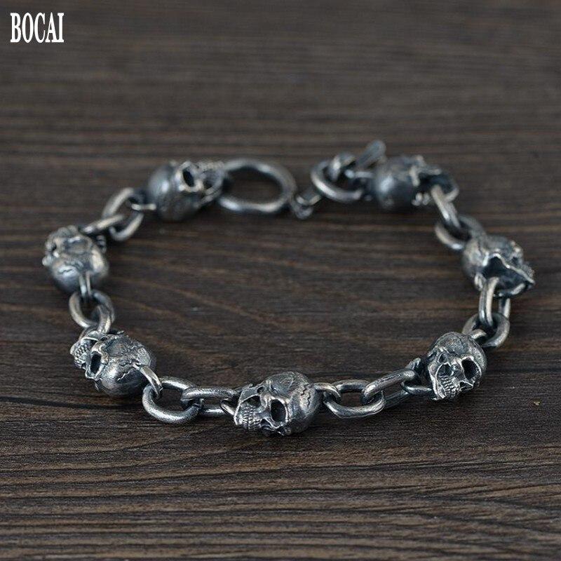 100% real Solid S925 Silver Bracelet for Men Thai Silver  Men's Silver Bracelet Skull Fashion Silver Bracelet