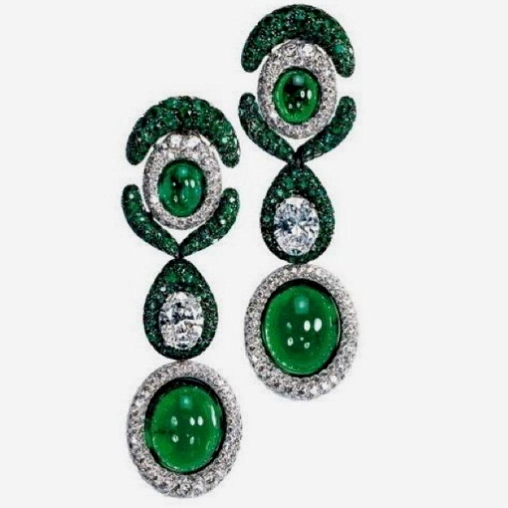 GODKI جديد فاخر الأخضر Waterdrop القرط الأفريقي للنساء حفل زفاف الهندي دبي مجوهرات الزفاف بوكل دي oreille فام هدية