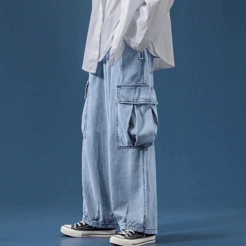 بنطال جينز رجالي واسع الساق جديد للخريف بجيوب كبيرة مستقيمة فضفاضة نمط هونغ كونغ ثنى بري موضة قديمة للأرضية