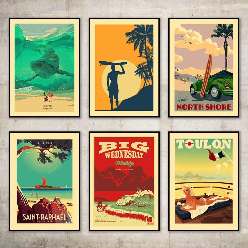 Surf en la costa vasco Hawaii Toulon lienzo pintura cuadros de pared Vintage Kraft carteles recubiertos pegatinas de pared regalo de decoración del hogar