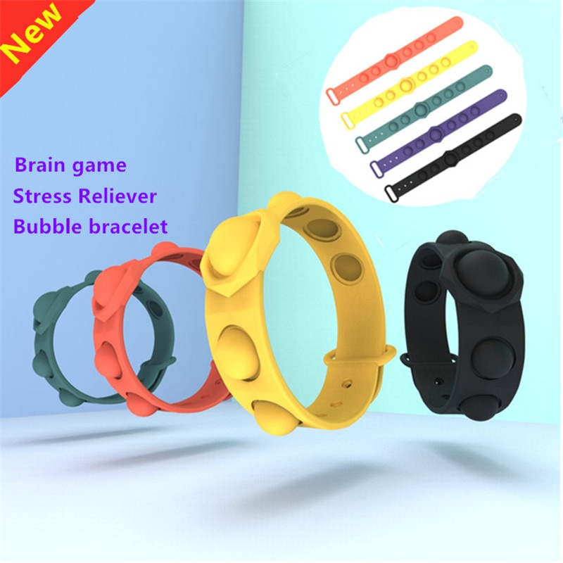 2021 New Puzzle Decompression Bubble Bracelet Stress Relief Toy Wearable Wristband Silicone Stress Relief Brain Game Toy For Kid