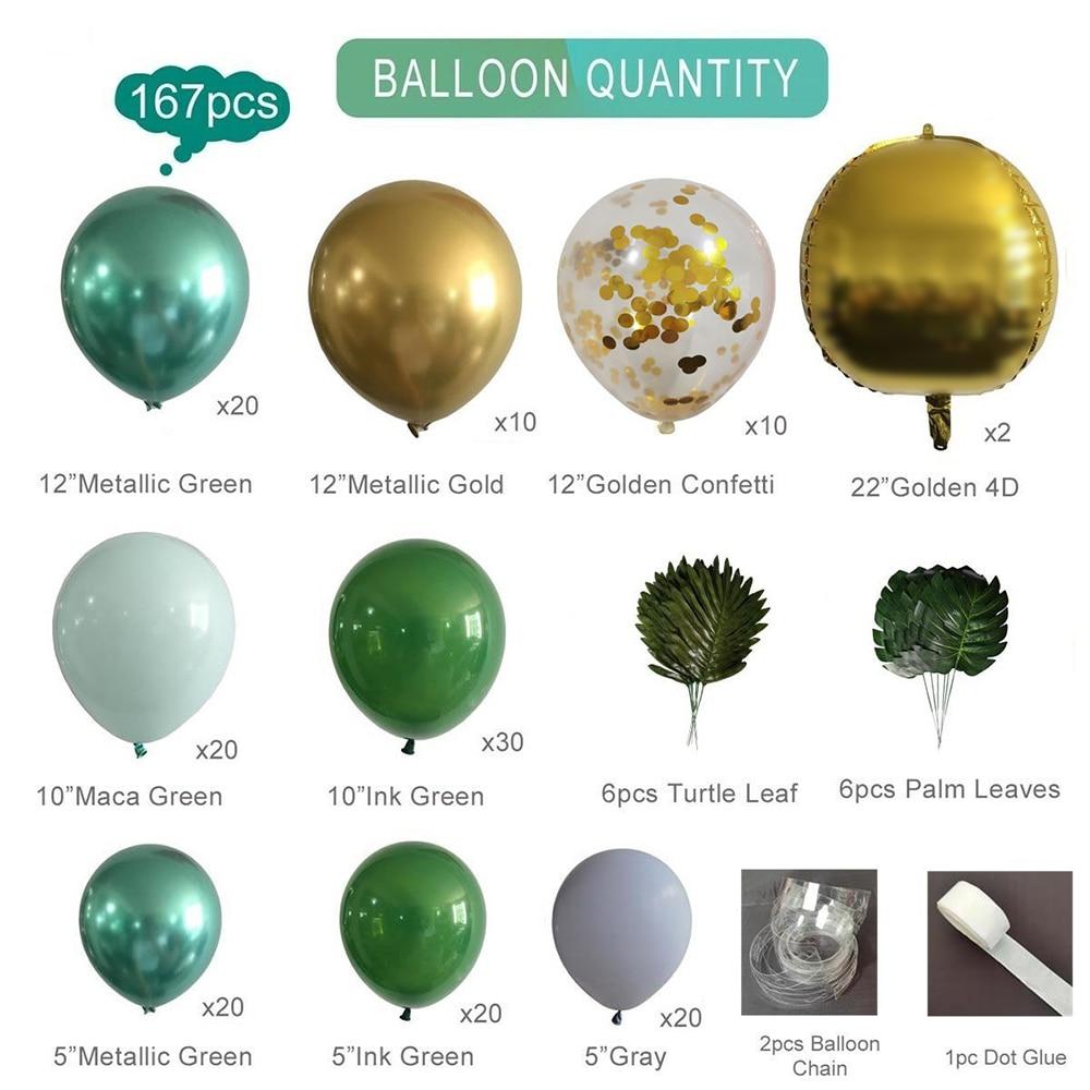 167 pçs conjunto de balões kit decoração do quarto casamento festa de aniversário dia dos namorados páscoa dia das bruxas floresta verde escuro ouro