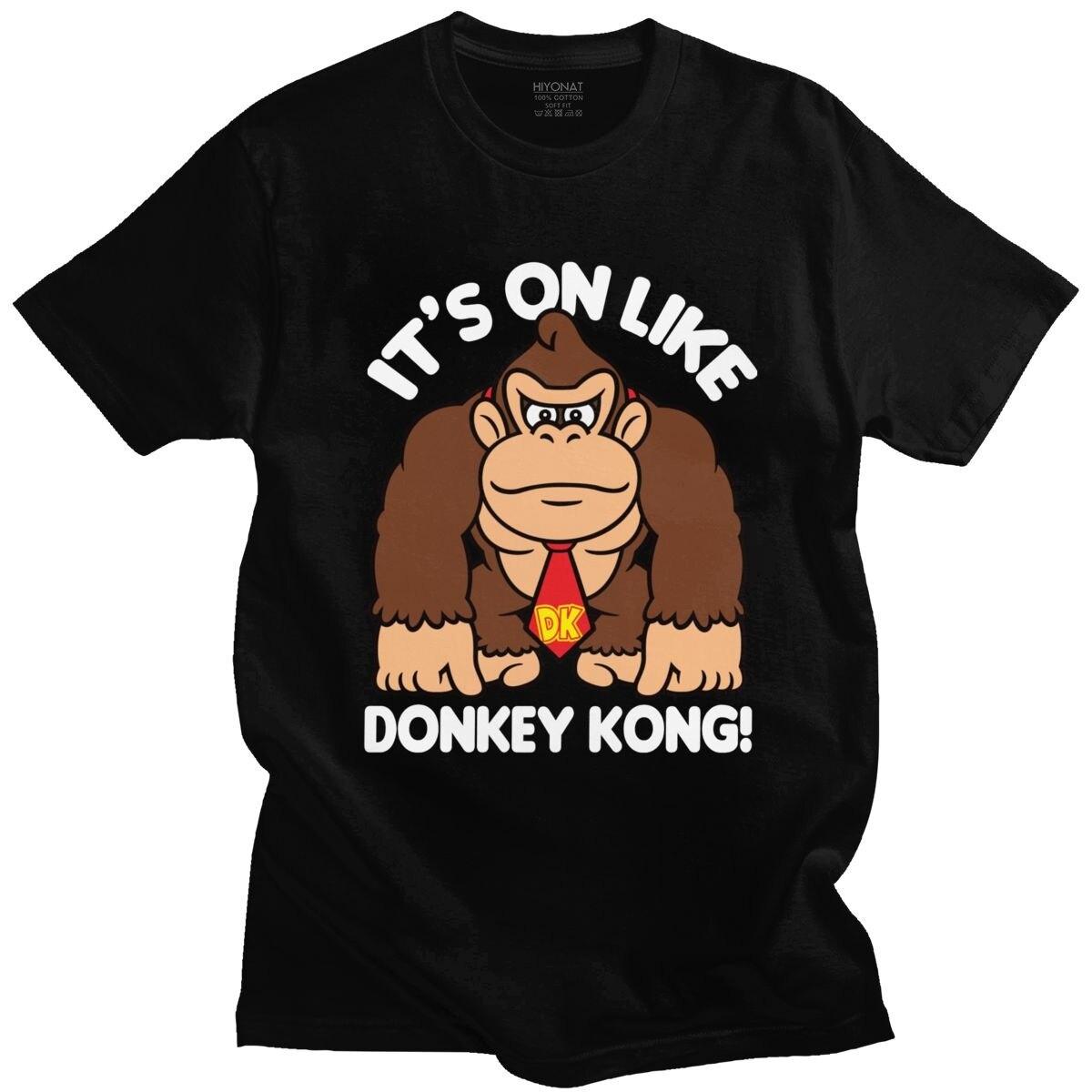 Engraçado Homens Camisetas é Em Donkey Kong T-shirt Gola de Manga Curta Camiseta De Algodão Macio Verão Gráfico Camiseta Gorila Tshirt